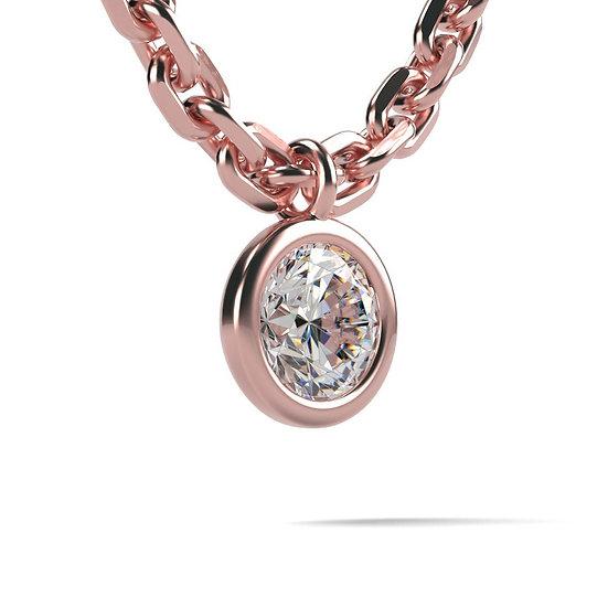 Collier FOLIE 0,03 carat Or Rose 375/1000