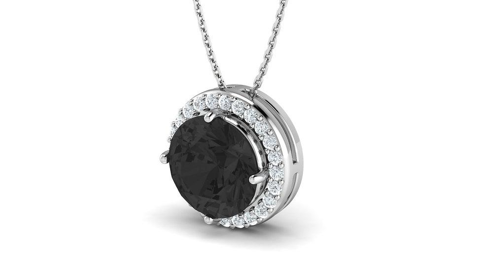 Collier Songe Diamant Noir Or Blanc 9k
