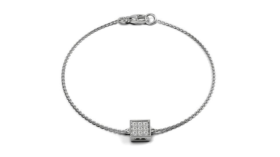 Bracelet Bonheur Or Blanc 9K