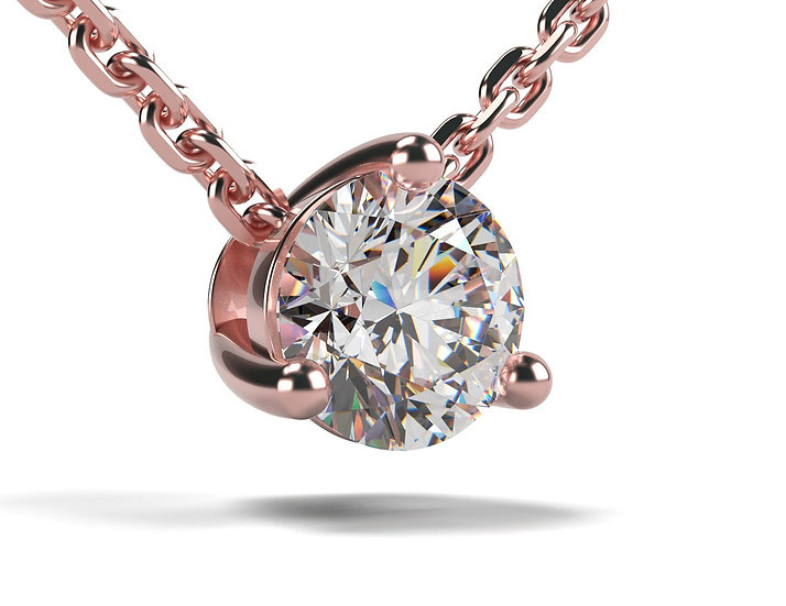 Collier FOUDRE 0,2 carat Or Rose 375/1000
