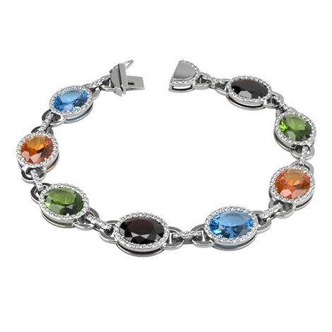 Bracelet Riviere Imperiale Or Blanc 9K