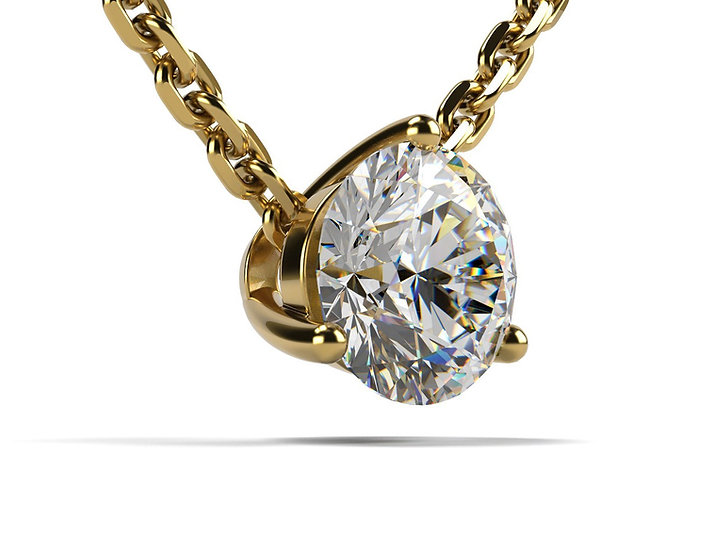 Collier FOUDRE 0,5 carat Or Jaune 375/1000