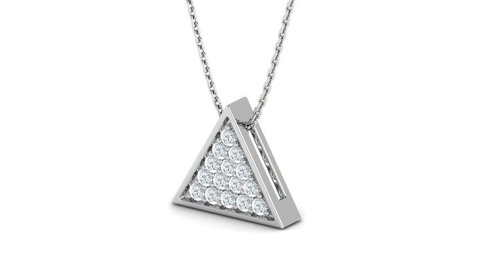 Collier Triangle Or Blanc 9k