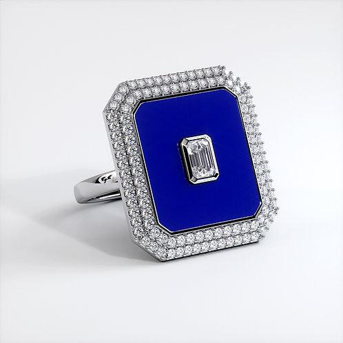 Bague Vendôme V Modèle XL Or blanc Blue