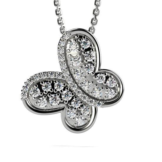 Collier PAPILLON 0,27 carat Or Blanc 375/1000