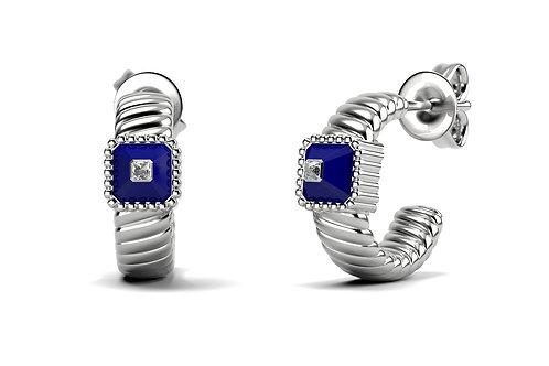 Boucles d'oreilles Vendôme VII Modèle M Or blanc Blue