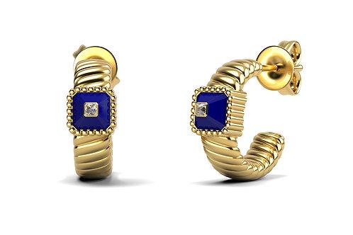 Boucles d'oreilles Vendôme VII Modèle M Or jaune Blue