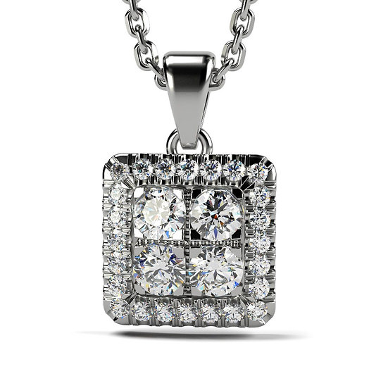 Collier SQUARE 0,33 carat Or Blanc 375/1000