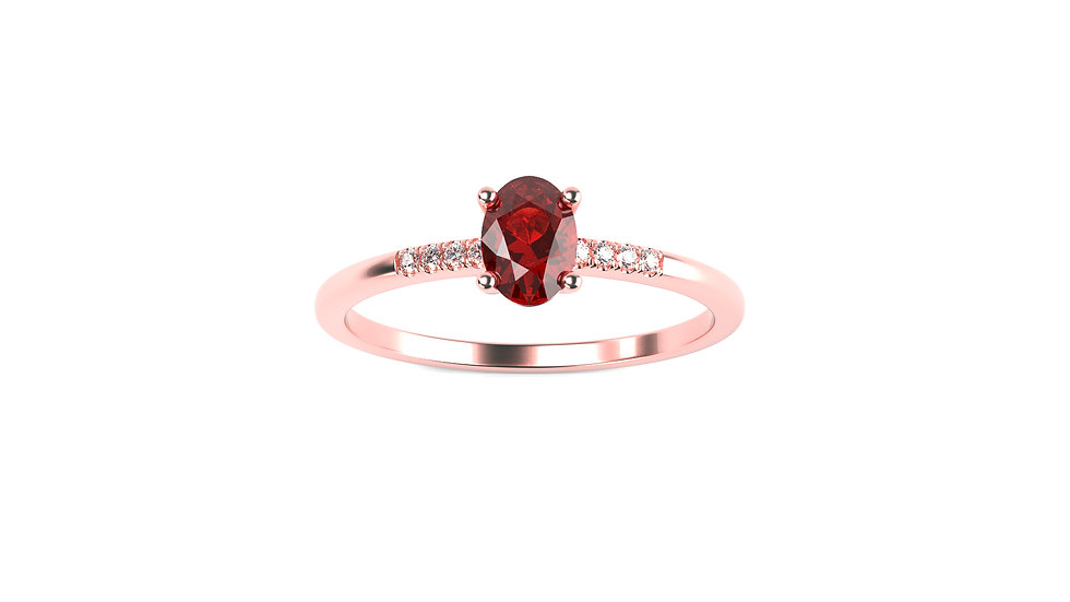 Bague SAMBA Ruby 0,02 Carat Or Rose 375/1000