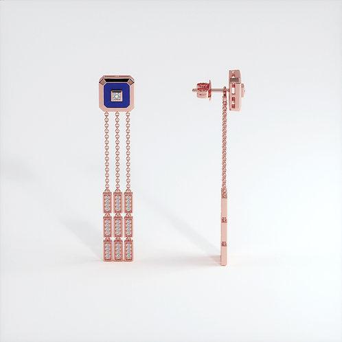 Boucles d'oreilles Vendôme V Modèle S or rose Blue