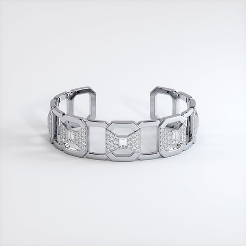 Bracelet Ruban Or Blanc