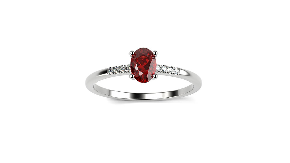 Bague SAMBA Ruby 0,02 Carat Or Balnc 375/1000