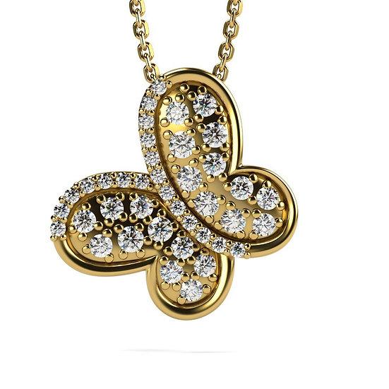 Collier PAPILLON 0,27 carat Or Rose 375/1000