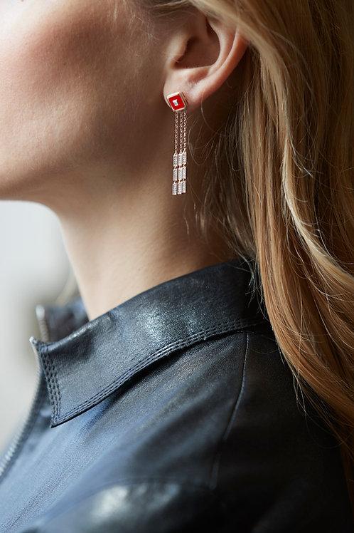 Boucles d'oreilles Vendôme V Modèle S or Rose Red