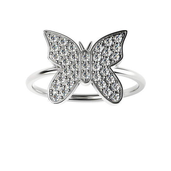 Bague BUTTERFLY 0,25 carat Or Blanc 375/1000