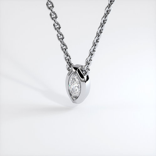 Collier Triomphe marquise (Or Blanc)