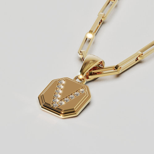 MEDAILLE M Diamant Or Jaune avec chaine maillons rectangles