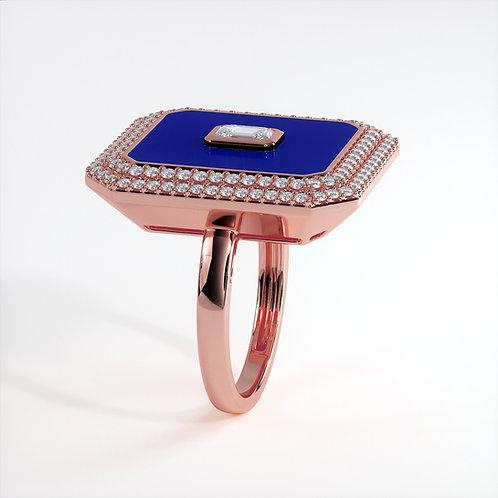 Bague Vendôme V Modèle XL Or rose Blue