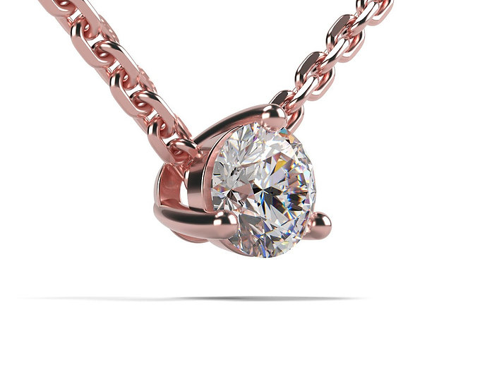 Collier FOUDRE 0,1 carat Or Rose 375/1000