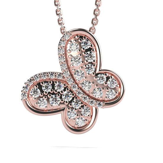 Collier PAPILLON 0,27 carat Or Jaune 375/1000