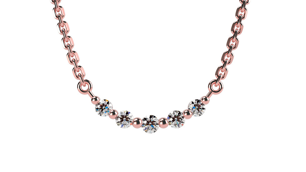 Collier AGAPE 0,07 Carat Or Rose 375/1000