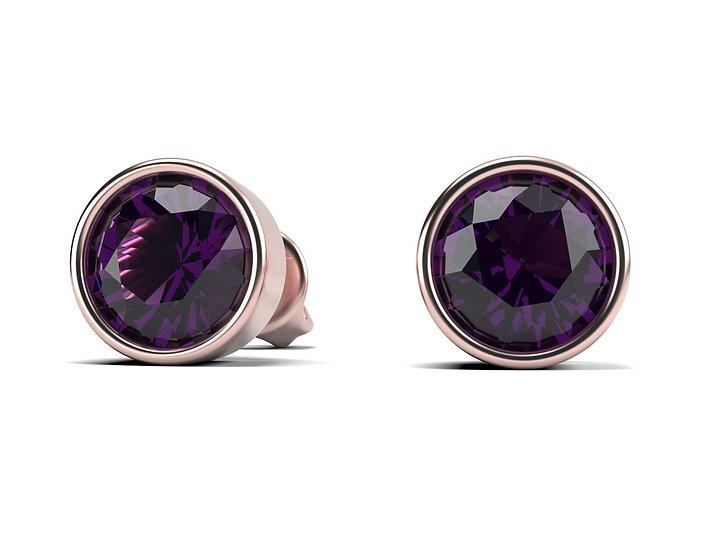 Boucles d oreilles FOLIE Amethyste 1 carat Or Rose 375/1000