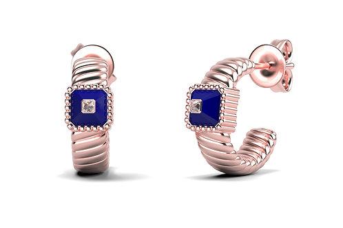 Boucles d'oreilles Vendôme VII Modèle M Or rose Blue