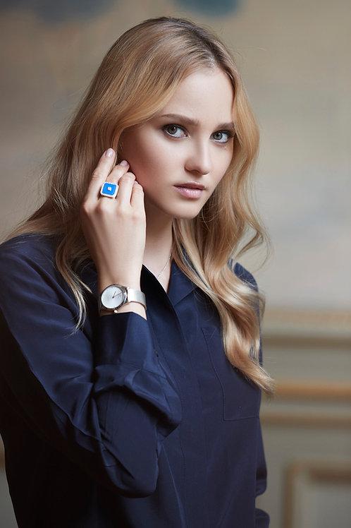 Bague Vendôme V Modèle M Or blanc Blue