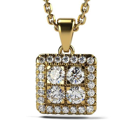 Collier SQUARE 0,33 carat Or Jaune 375/1000