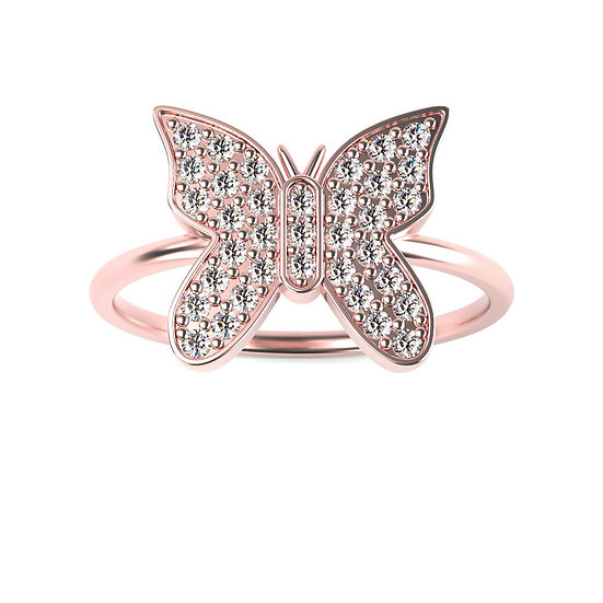 Bague BUTTERFLY 0,25 carat Or Rose 375/1000