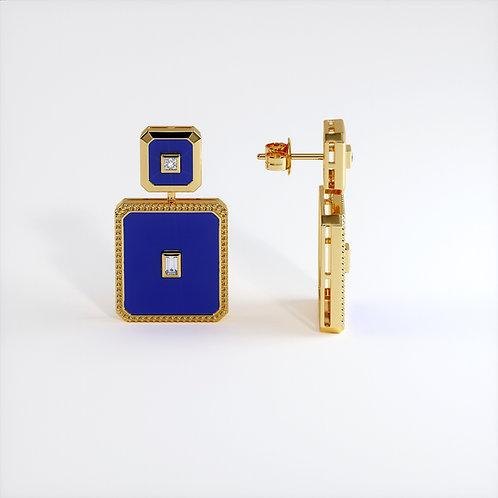 Boucles d'oreilles Vendôme V Modèle M or jaune Blue