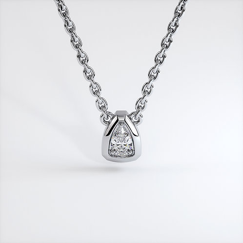 Collier Triomphe poire (Or Blanc)