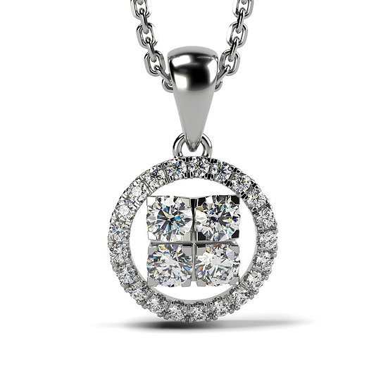 Collier SOLEIL 0,34 carat Or Blanc 375/1000