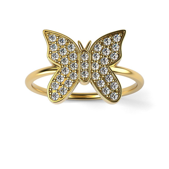 Bague BUTTERFLY 0,25 carat Or Jaune 375/1000