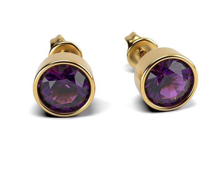 Boucles d oreilles FOLIE - Amethyste 1 carat Or jaune 375/1001