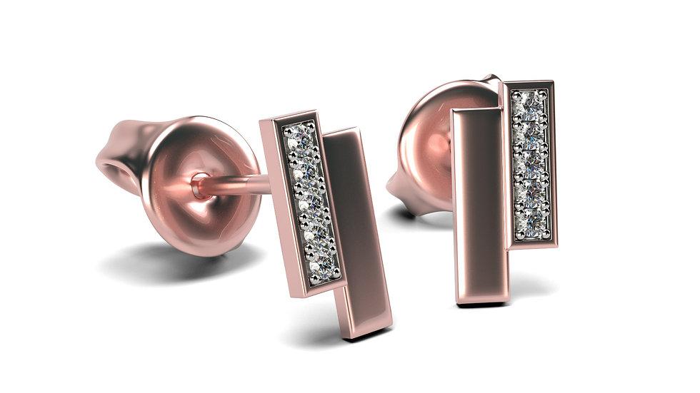 Boucles d'oreilles Equivoque Or Rose 0,05 Carat Or 375/1000