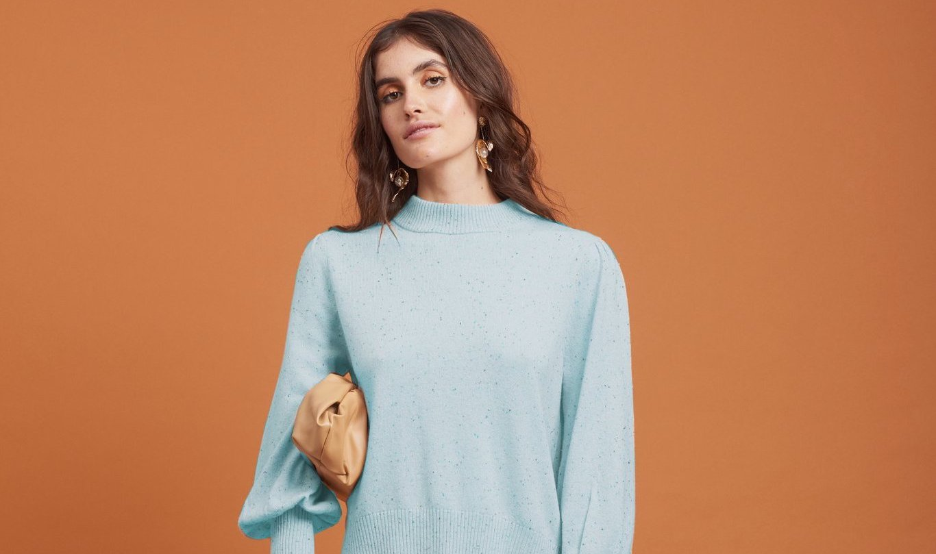 This devine cashmere jumper is made from a specialty nep yarn in a delicate mint nep marl. The yarn is so soft you won't want to take it off.