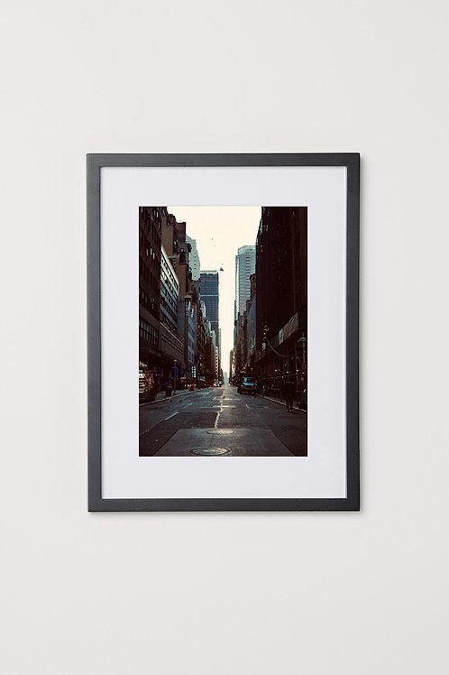 "Empty New York Street 12""X16"" Photo & Frame"