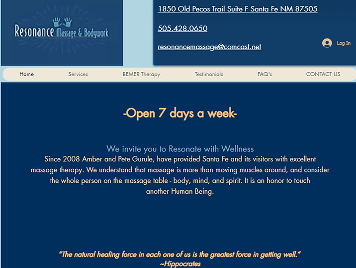 Massage Therapist (original website)