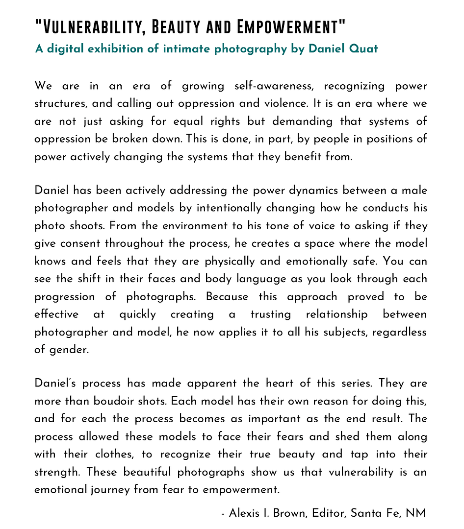 Content writing - description for a Photography Series