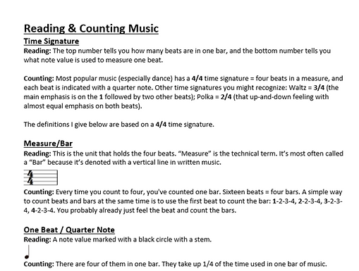 Reading, Counting, Structuring Music