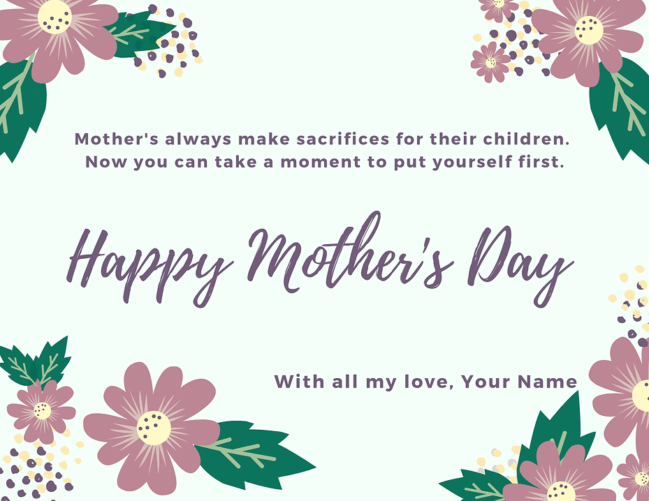 Mother's Day Card Card (to go with gift certificate)