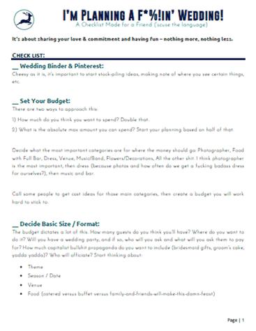Friend's Wedding Checklist and Tips - De