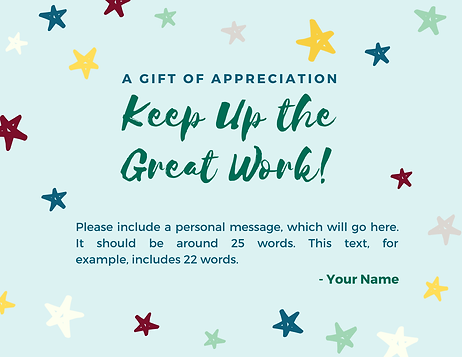 Employee Appreciation Card (to go with gift certificate)