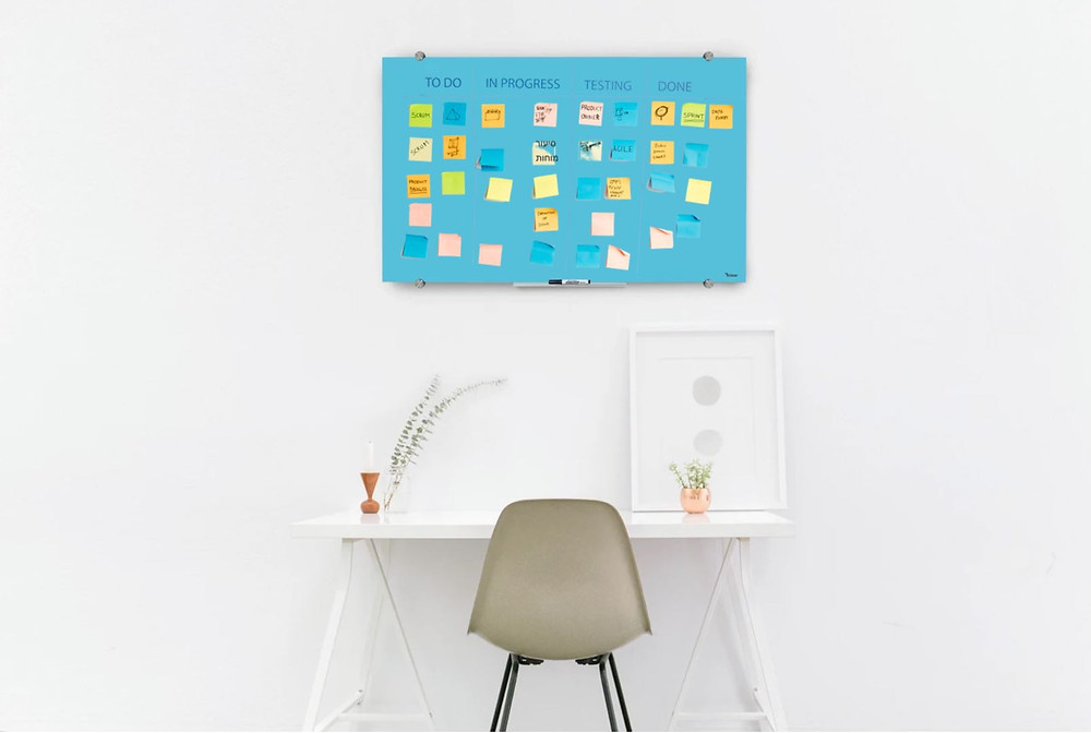 לוח מחיק מזכוכית, לוח מגנטי מעוצב למשרד ולחדר עבודה