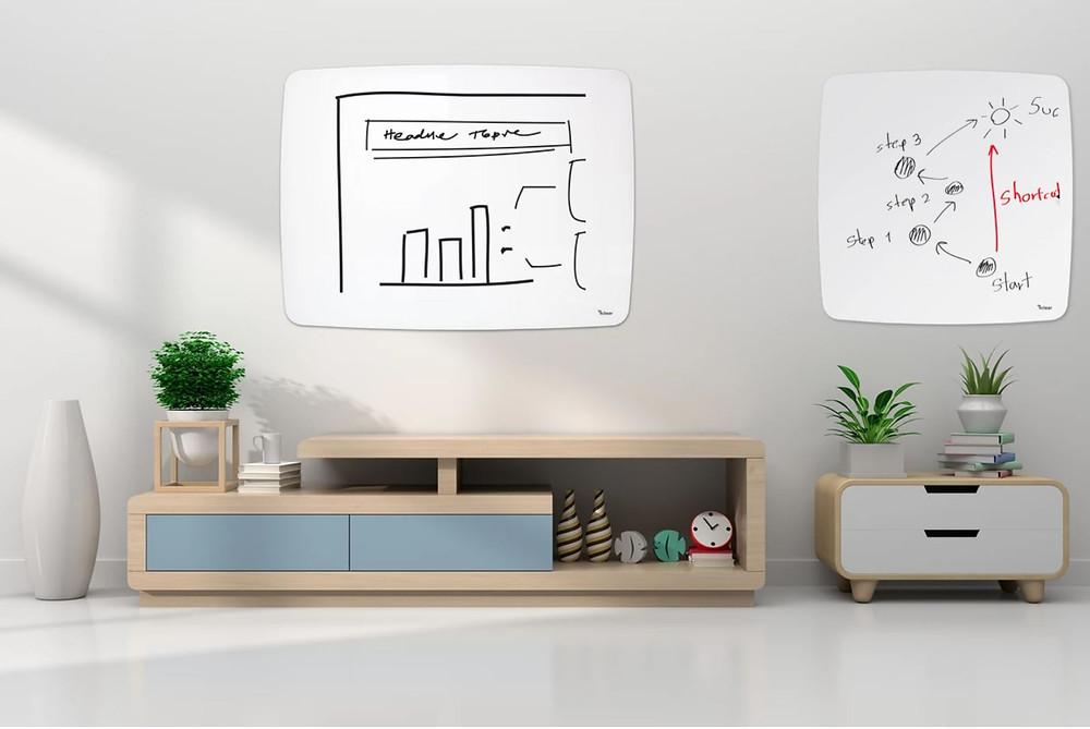 לוח מחיק מזכוכית לוח מעוצב עם פינות מעוגלות