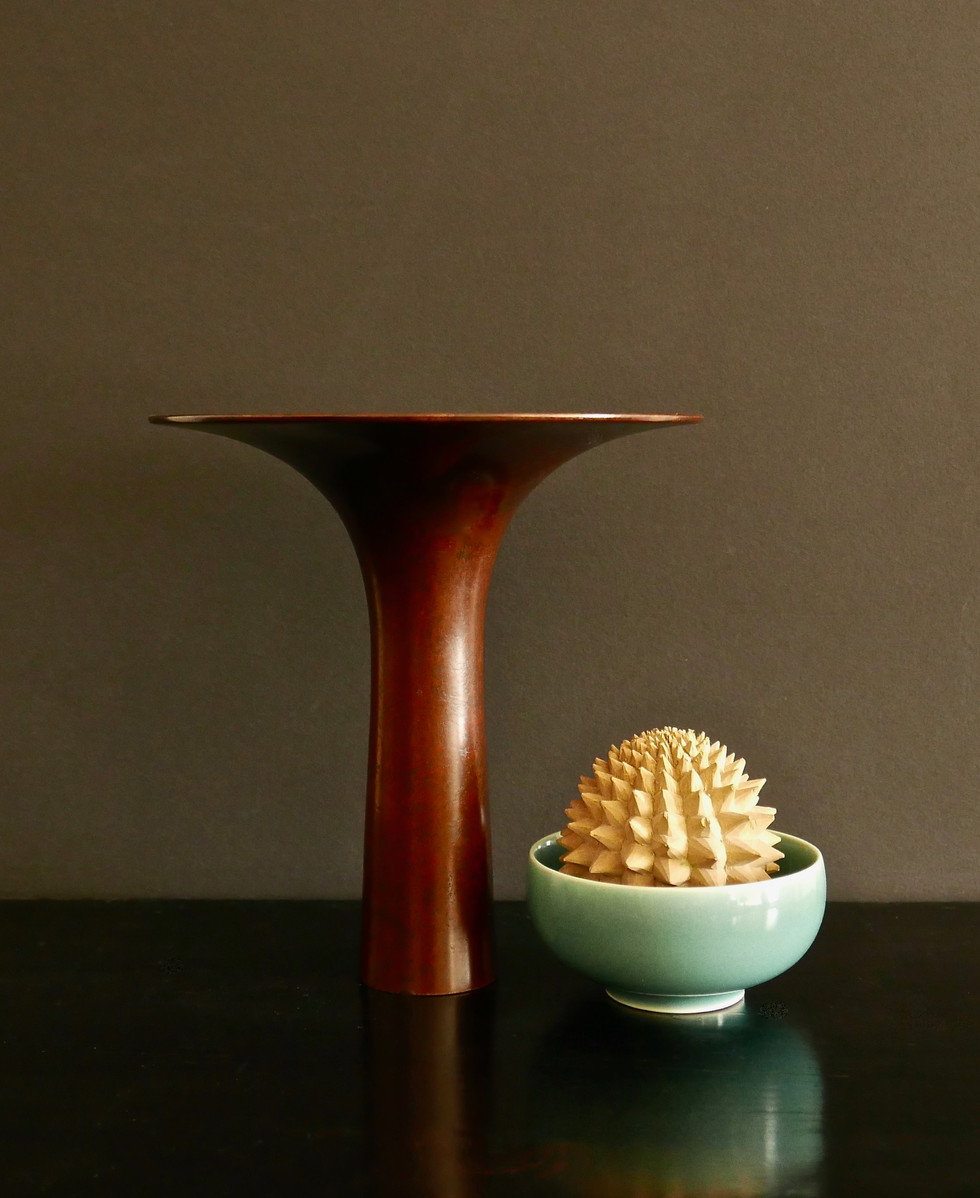 Copper Vase and Bowled Wooden