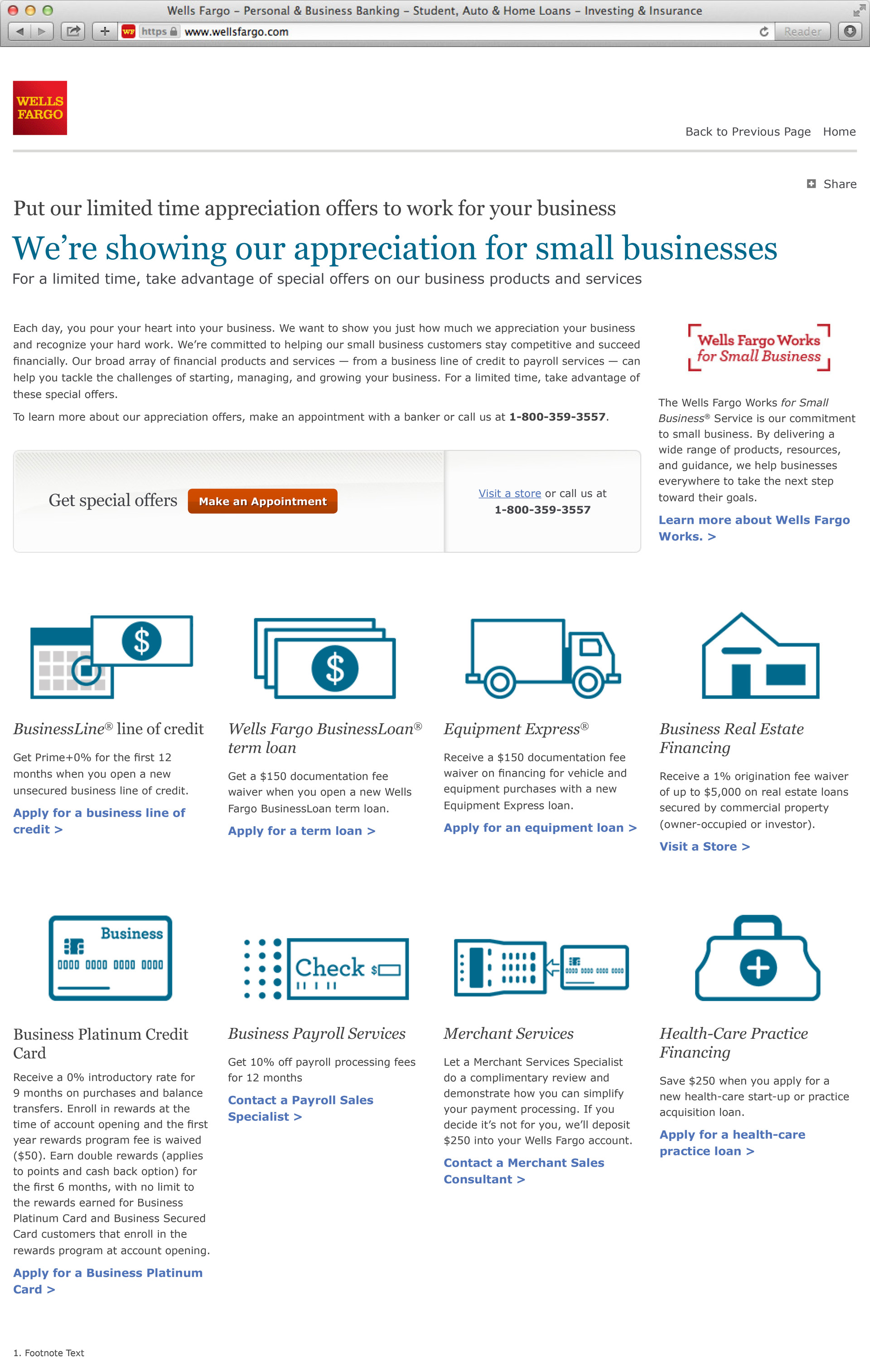 Wells Fargo Business Landing Page