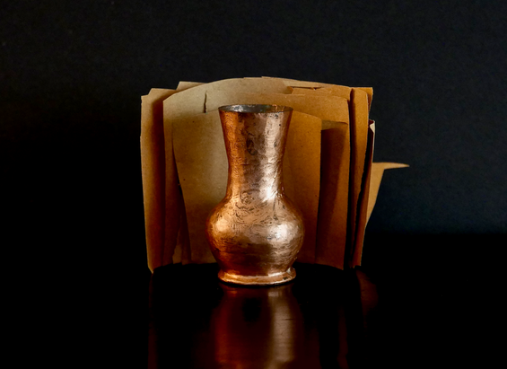 Copper Vase and Torn Paper