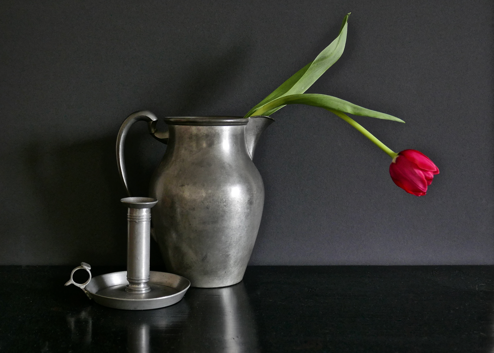 Pewter and Red Tulip